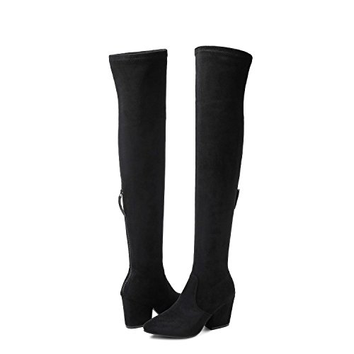 Thigh High Block Heel Boot Women Pointed Toe Stretch Over The Knee Bootie