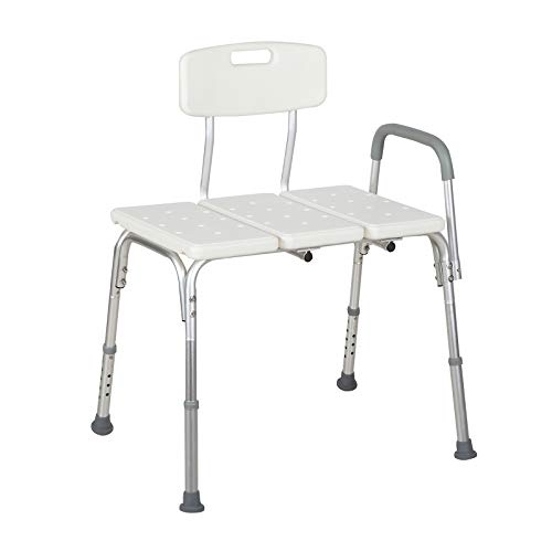 Uenjoy Medical Transfer Tub Bench with Backrest,Adjustable Shower stools and Benches,Safety Bathroom Chair for Shower