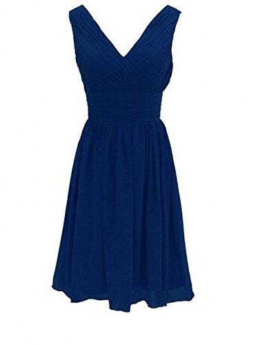 Courtes Robes De Demoiselle D'honneur En Mousseline De Soie De Femmes Botong Robes De Graduation V-cou Bleu Royal