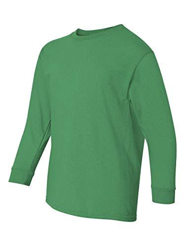 (Gildan Big Boys' Seamless Crewneck Long Sleeve T-Shirt, X-Small, Irish Green)
