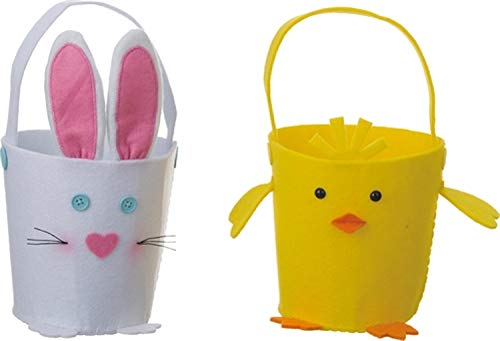 Set//2 Assorted TII P9562 Felt Bunny and Chick Easter Baskets