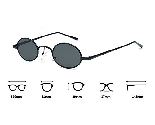 no clásico polarizado oval sol de Gris mujeres marco hippy hombre gafas Retro de metal Negro estilo para 15dwAxAq