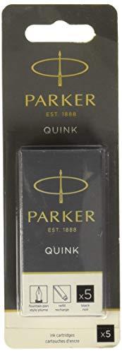 Sanford Black Ink Bottle - PARKER QUINK Long Fountain Pen Ink Refill Cartridges, Black, 5 Count