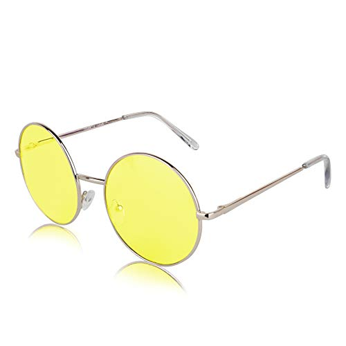 (Sunny Pro Designer Large Sunglasses Colored Lens Round Glasses For Women Yellow)