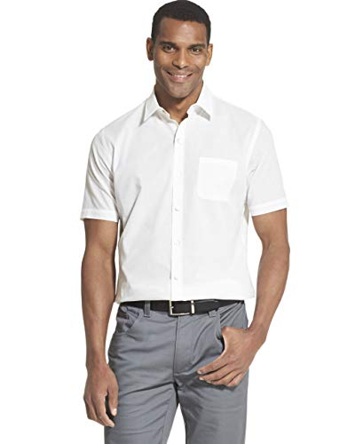 (Van Heusen Men's Air Short Sleeve Button Down Solid Shirt, Bright White, Small)