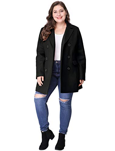 Women/'s Plus Size Notched Lapel Double Breasted Coat