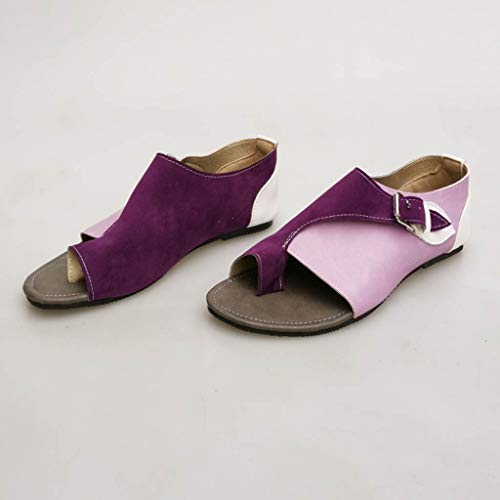 Sunnywill Sandales Femmes Plat plates Sandale Loisir Violet Style Bleu Gris Jaune Confortables Lanière Doux Vert Et Violet Romain ppRwqH