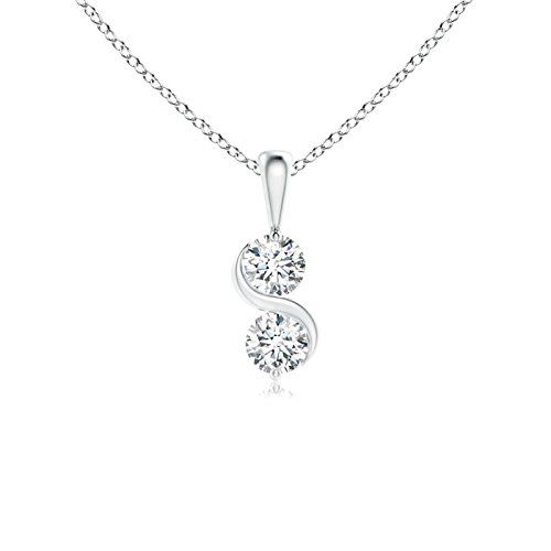 Classic Two Stone Diamond Swirl Pendant in 14K White Gold (3.2mm ()