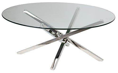 "Cortesi Home Mallory Round Glass Coffee Table, 39"""