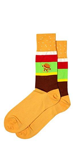 Embroidered Pima Cotton Socks - Hamburger Themed Embroidered Men's Pima Cotton Dress Socks, Mid Calf