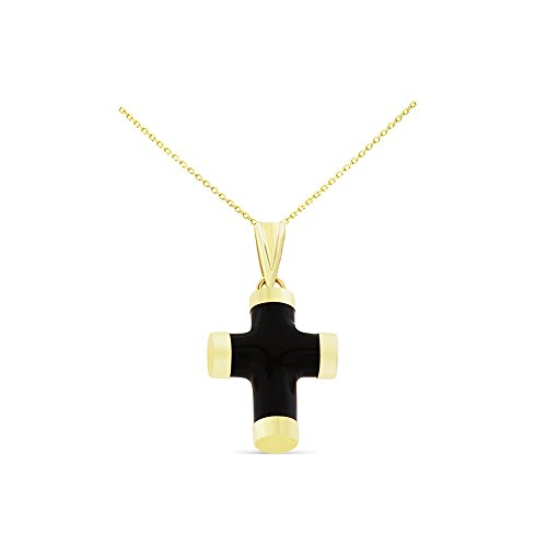 ine Natural Black Onyx Cross Pendant With Square Rolo Chain Necklace (14k Gold Onyx Cross Pendant)