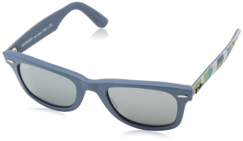 Ray-Ban WAYFARER - MATTE BLUE Frame GREY SILVER MIRROR Lenses 50mm - Ray Ban 2140