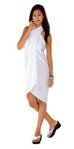 1 World Sarongs Womens Fringeless (TM) Swimsuit Cover-up Solid Sarong in White]()