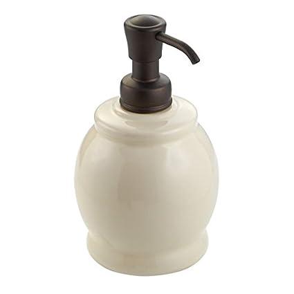 mDesign Dosificador de jabón recargable – Dispensador de jabón líquido de cerámica – Dispensador de jabón