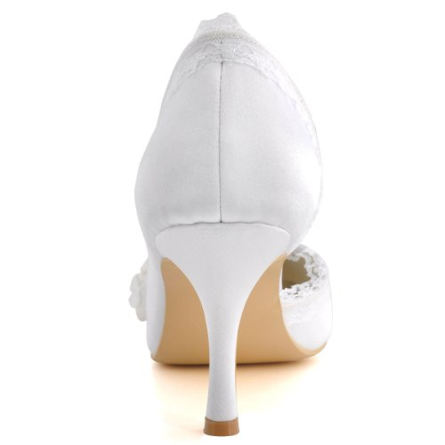Elegantpark - Zapatos de Vestir de satén Mujer Beige - Ivoire