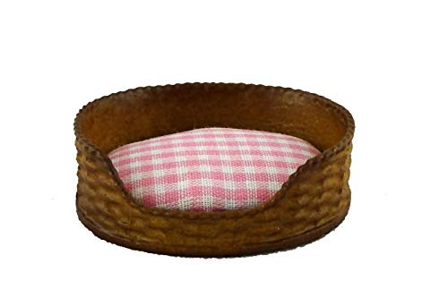 Melody Jane Dolls Houses House Miniature Pet Accessory Dog Cat Bed Basket Pink Check Cushion (House Dog Miniature)