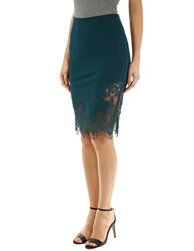 Green Lace Inset - PattyBoutik Women Lace Fringe Inset Skirt (Dark Green X-Large)
