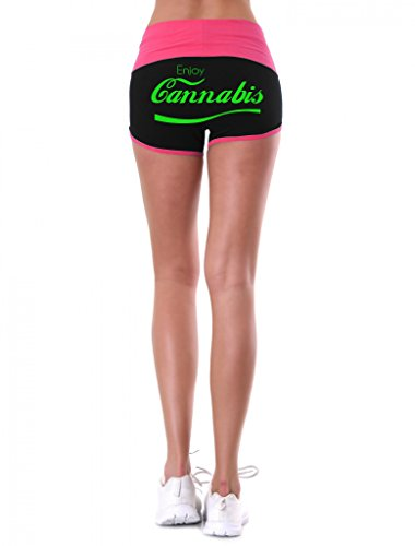 Women's Enjoy Cannabis V364 Pink/Black Athletic Workout Yoga Shorts (Back) Medium