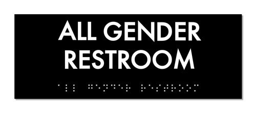 All Gender Restroom Identity Sign 8'' x 3'' with Braille - ADA Compliant (Black/White)