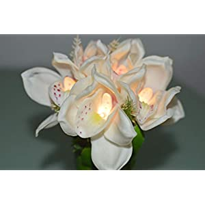 FANStek LED Lighted Artificial Orchid Flower Arrangement-Battery with Green Leaves (White Singapore Orchid) 2