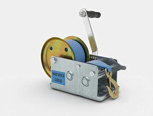 ShoppingOnBed 3200lbs Polyester Strap 2 Gear Hand Winch Hand Crank Gear Winch ATV Boat Trailer