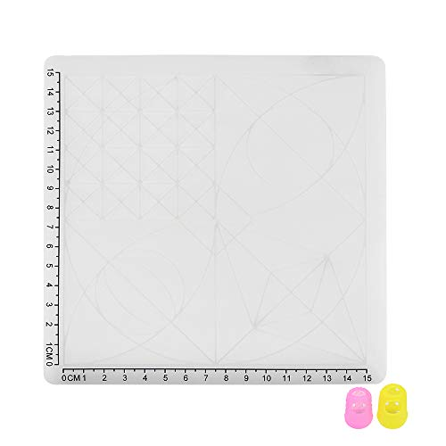 Entweg 3D Pen Mat Multi Purpose Silicon 3D Design Mat with Basic Shapes Extra Two Silicone Finger Caps Great 3D Pen Drawing Tools White Type A Pack of 1pcs