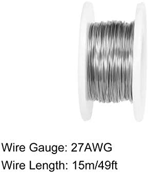 sourcing map 0.35mm 27AWG Heating Resistor Wire Wrapping Nichrome Resistance Wires for Heating Elements 49ft