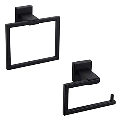 Bathroom Hardware Accessories Sets SUS304 Stainless Steel Bath Shower Set 2-Pieces(Toilet Paper Holder Towel Ring) Black Matte Finish Contemporary Style