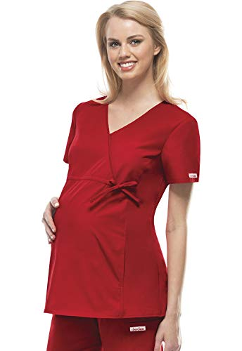 Cherokee Women's Maternity Mock Wrap Scrubs Shirt