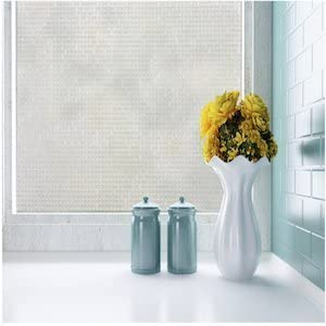 fancy-fix Non Adhesive Privacy Window Film Decorative Cubic Glass Sticker Static Cling Vinly for Home Garden Bathroom Kitchen Office 35.4 x 59 Inches