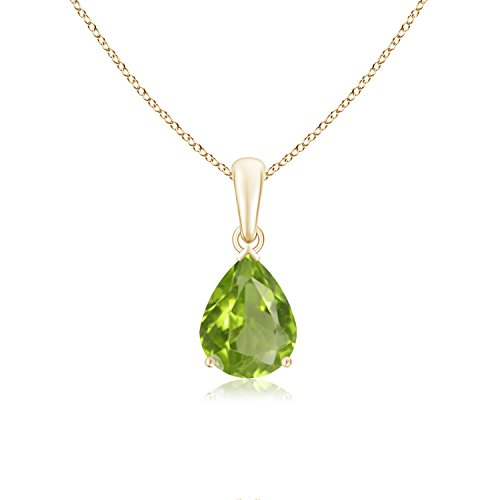 (Pear Shaped Peridot Solitaire Pendant Necklace in 14K Yellow Gold (9x7mm Peridot))