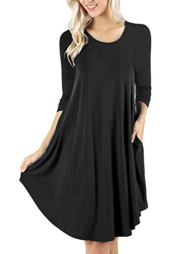 Black Tank Plain Casual Tunics Dresses Loose Camisunny Pockets Cotton Vest Sleeve Women Casual with Long 6qxFnTHp