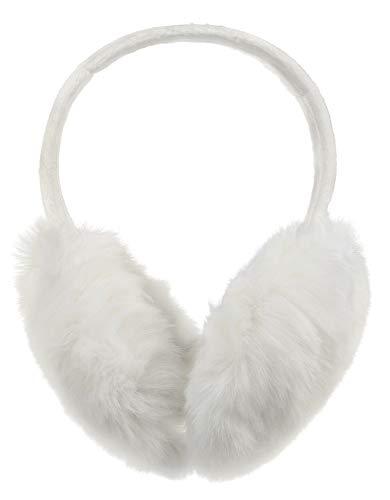 Simplicity Adorable Faux Fur Furry Heart Print Soft Earmuffs, White