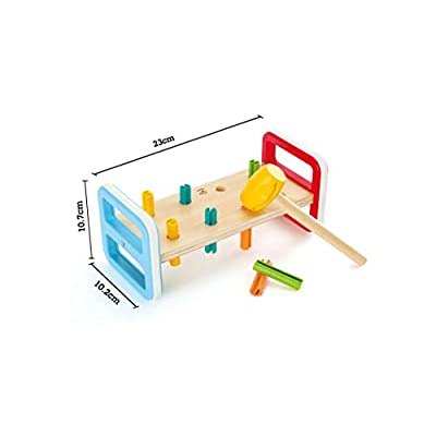 Hape Rainbow Pounder| Pounding Bench Wooden Toy with Hammer, Multicolor: Toys & Games