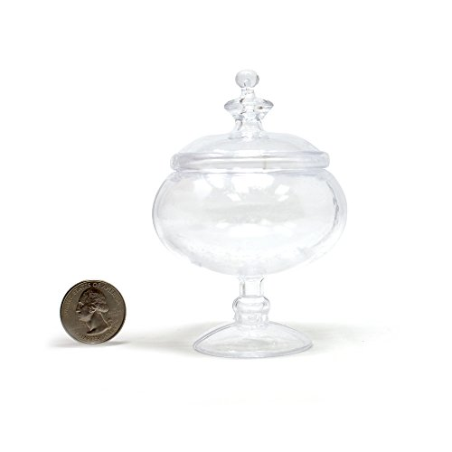 - Homeford Clear Plastic Round Candy Jar Party Favor, 2-1/2-Inch x 4-Inch, 12-Count