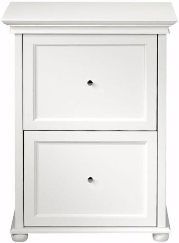 Bon White Two Drawer Wood File Cabinet, TWO DRAWER, WHITE