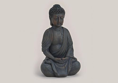 Buddha-Figur sitzend, betend 25cm in Braun | Deko-Artikel für Wohnung & Haus | Buddha-Skulptur, Wohnaccessoire ideal als Geschenk | Buddha-Statue Feng Shui Dekoration |