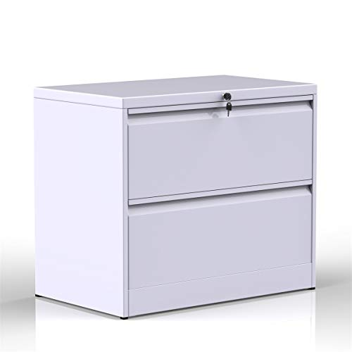 (ModernLuxe Heavy-Duty Lateral File Cabinet (White-X, 2-Drawers:35.4W17.7D28.4H))