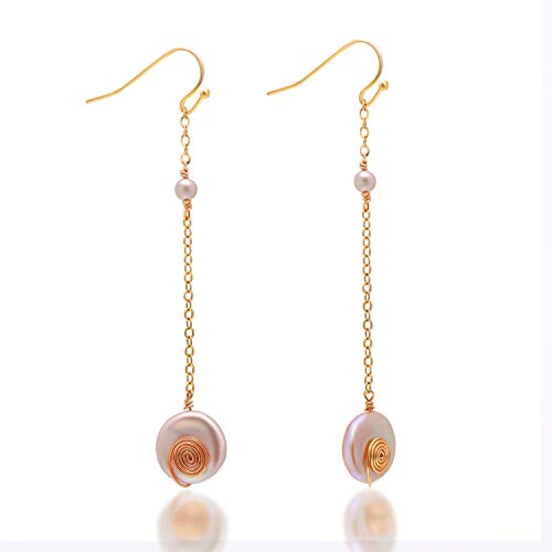 14K Gold Filled Spiral Wrapped Freshwater Cultured Baroque Coin Pearls Dangle Earrings, Pink ()