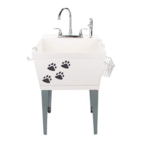 (Laundry Sink Utility Tub With High Arc Chrome Faucet With Pet Friendly Accessories, Side Sprayer, Hooks, Baskets, Heavy Duty Sink With Reinforced Wall Bracket, Suitable for Washroom Garage Workshop)