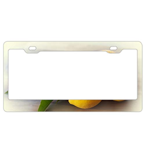 (PANGERA Personalized Custom Made Lemons Leaves Yellow Citron Metal License Plate Frame)
