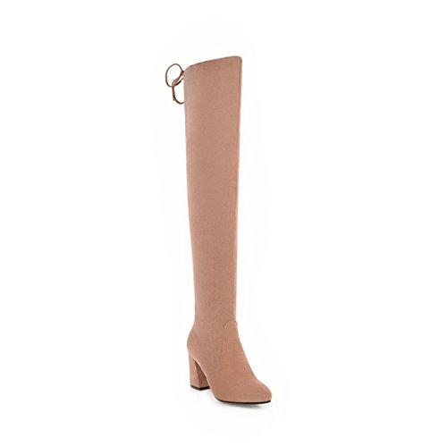 women's boots horse Fashion Sandalette knee boots suede knee heel boots hoof and boots high DEDE Pink w10ptpqg
