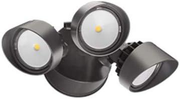 Lithonia Lighting OLF 3RH 40K 120 PE DDB M4 LED Security Floodlight, 3 Heads, Round, Dark Bronze