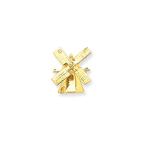 14k Yellow Gold Wind Mill Charm (13.25 x 15 mm) 14k Gold Windmill