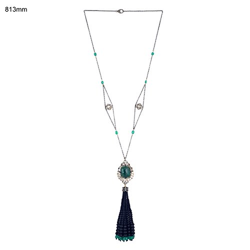 Black Onyx Emerald Spinel Diamond Tassel Necklace in 18K Gold & Sterling Silver by Mettlle