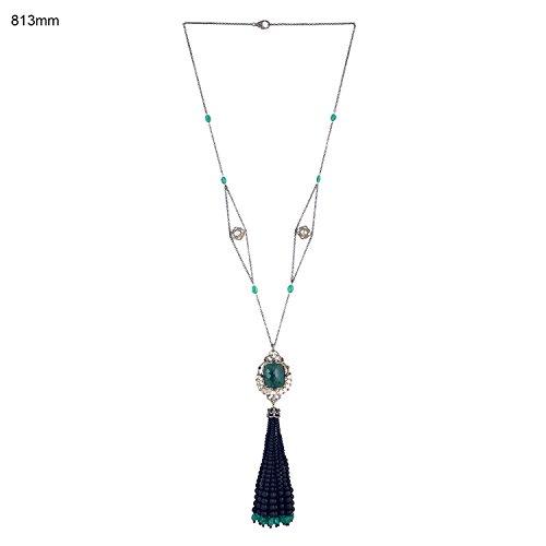 Black Onyx Emerald Spinel Diamond Tassel Necklace in 18K Gold & Sterling Silver by Mettlle