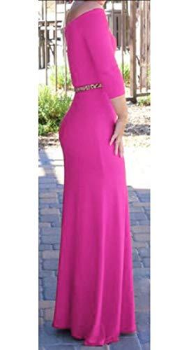 Épaule Hors Sexy Manches Longues Femmes Alion Haute Moulante Robe Maxi Taille Rose Rouge