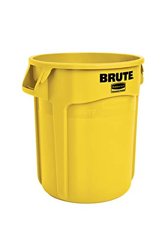 Rubbermaid Commercial Products FG261000YEL BRUTE Heavy-Duty Round Trash/Garbage Can, 10-Gallon, Yellow
