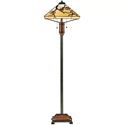 Quoizel TF9404M Grove Park Flower Tiffany Floor Lamp, 2-Light, 200 Watts, Iron with Wood Accents (61