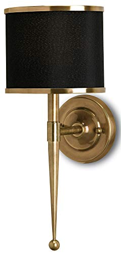 Brass One Light Wall Torch - Currey and Company 5021 Primo 1-Light Wall Sconce, Antique Brass Finish with Black Shade with Brass Trim